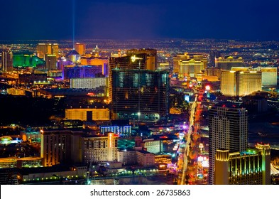 Las Vegas from above at night - Shutterstock ID 26735863