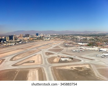 Las Vegas airport view from the airplane window.