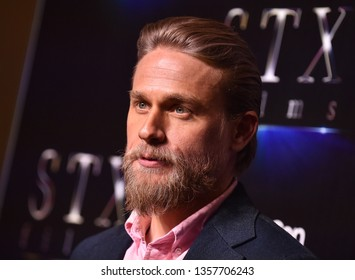 """LAS VEGAS - APR 02:  Charlie Hunnam arrives for the CinemaCon 2019 - STXfilms presentation """"The State of the Industry: Past, Present and Future' on April 02, 2019 in Las Vegas, NV"""