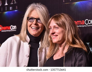 """LAS VEGAS - APR 02:  Diane Keaton and Zara Hayes arrives for the CinemaCon 2019 - STXfilms presentation """"The State of the Industry: Past, Present and Future' on April 02, 2019 in Las Vegas, NV"""