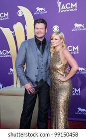 LAS VEGAS - APR 1:  Blake Sheldon, Miranda Lambert arrives at the 2012 Academy of Country Music Awards at MGM Grand Garden Arena on April 1, 2012 in Las Vegas, NV.