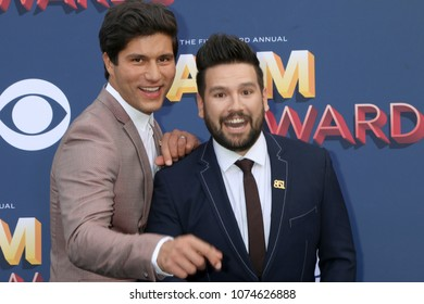 LAS VEGAS - APR 15:  Dan + Shay, Dan Smyers, Shay Mooney at the Academy of Country Music Awards 2018 at MGM Grand Garden Arena on April 15, 2018 in Las Vegas, NV