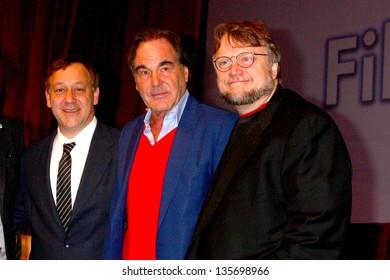 LAS VEGAS - APR 17:  Sam Raimi, Oliver Stone, Guillermo del Toro at the CinemaCon Filmmaker's Luncheon at the Caesars Palace on April 17, 2013 in Las Vegas, NV