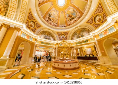 Las Vegas, APR 28: Interior view of the famous Venetian casino hotel on APR 28, 2019 at Las Vegas, Nevada
