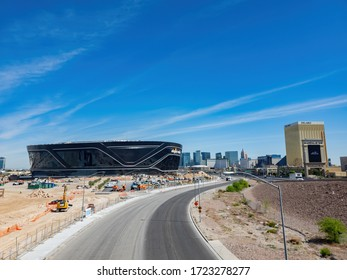 Las Vegas, APR 29, 2020 - Morning view of the almost finished Allegiant Stadium with the strip view
