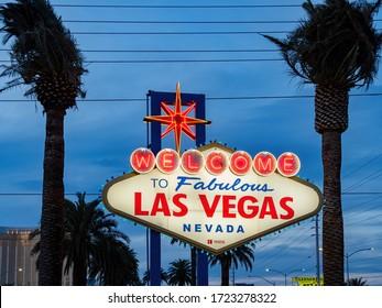 Las Vegas, APR 29, 2020 - Dusk view of the Welcome to Fabulous Las Vegas Sign