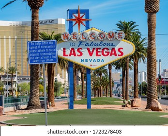 Las Vegas, APR 29, 2020 - Morning sunny view of the Welcome to Fabulous Las Vegas Sign