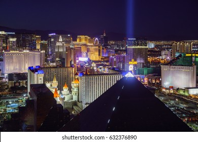 Las Vegas, APR 29: Superb night aerial view of Strip, Las Vegas and Casinos on APR 29, 2017 at Skyfall Loung, Mandaly Bay, Nevada