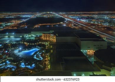 Las Vegas, APR 29: Superb night aerial view of Mandaly Bay on APR 29, 2017 at Skyfall Loung, Mandaly Bay, Nevada