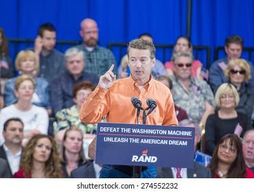 LAS VEGAS - APRIL 11 :Republican presidential candidate U.S. Sen. Rand Paul speaks during a rally in Las Vegas, Nevada on April 11 2015
