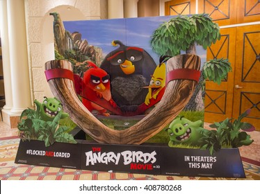 LAS VEGAS - April 13 : A display for the movie 'Angry Birds' at Caesars Palace during CinemaCon, the official convention of the National Association of Theatre Owners, on April 13, 2016 in Las Vegas