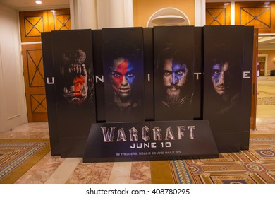 LAS VEGAS - April 13 : A display for the movie 'Warcraft' at Caesars Palace during CinemaCon, the official convention of the National Association of Theatre Owners, on April 13, 2016 in Las Vegas