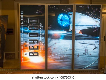 LAS VEGAS - April 13 : A display for the movie 'Star Trek Beyond' during CinemaCon, the official convention of the National Association of Theatre Owners, on April 13, 2016 in Las Vegas
