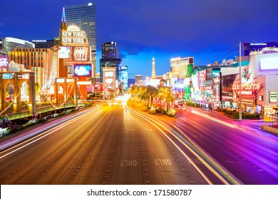 LAS VEGAS - APRIL 17, 2013: Sunset view of the famous Strip from high angle with night lights in Las Vegas, Nevada, April 17, 2013