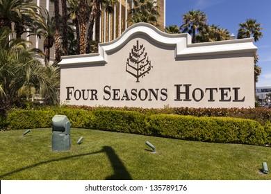 LAS VEGAS - APRIL 19: Four Seasons sign on April 19, 2013  in Las Vegas. The top 5 floors of Mandalay bay are occupied by the Four Seasons Hotel. The top 3 floors are penthouses.