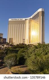 LAS VEGAS - APRIL 19: Mandalay Bay on April 19, 2013  in Las Vegas. MAndalay Bay has 3,309 Guest rooms and a 135,000 sq ft casino.