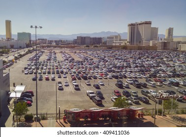 LAS VEGAS - April 2016: Huge parking lot full of cars parked next to Las Vegas Convention Center.