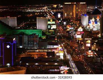 LAS VEGAS - April 22: Night Panorama of Las Vegas Boulevard, The Strip. Hotels and casinos of Las Vegas, on April 22, 2009 in Las Vegas, Nevada