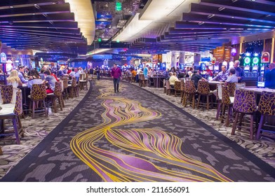 LAS VEGAS - AUG 14 : The interior of Aria Resort and Casino in Las Vegas on August 14 2014. The Aria was opened on 2009 and is the world's largest hotel to receive LEED Gold certification
