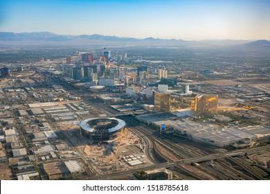 Las Vegas, AUG 29: Aerial view of the famous cityscape of Las Vegas on AUG 29, 2019 at Las Vegas, Nevada