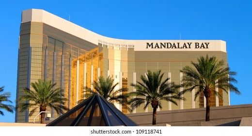 LAS VEGAS - AUGUST 19: The Mandalay Bay Resort and Casino on August 19, 2009 in Las Vegas.  Mandalay Bay opened in 1999, and seen here is the gold colored exterior of the 44-story tall main building.