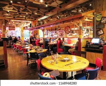 Las Vegas, August 2018 - Interiors of Bubba Gump Shrimp Co. in Las Vegas, Nevada, USA.