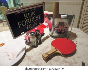 Las Vegas, August 2018 - Typical table at the restaurant Bubba Gump Shrimp Co. in Las Vegas, Nevada, USA.