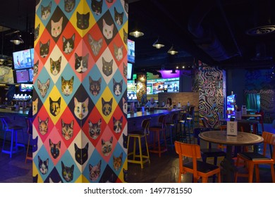 Las Vegas - August 2019: Cats bar at MGM Grand Las Vegas, hotel and casino in Las Vegas, Nevada. It is the largest single hotel in theUSA Unitedwith 6,852rooms.
