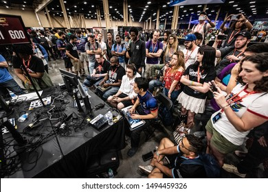 LAS VEGAS - AUGUST 3, 2019: Wide-angle view of Tokido and other players competing in Street Fighter V (SFV) at eSports fighting game tournament EVO 2019 Evolution Championship Series.