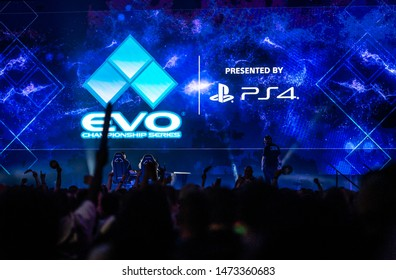LAS VEGAS - AUGUST 4, 2019: Audience excited for next match at eSports fighting game tournament EVO 2019 Evolution Championship Series presented by Playstation PS4 at Mandalay Bay Events Center.