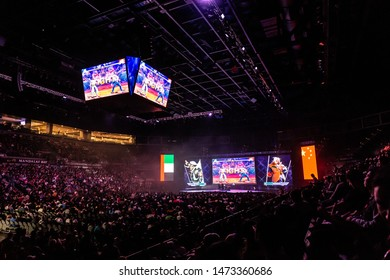 LAS VEGAS - AUGUST 4, 2019: Audience view of the start of Street Fighter V (SFV) match at eSports tournament EVO 2019 Evolution Championship Series in the Mandalay Bay Events Center.