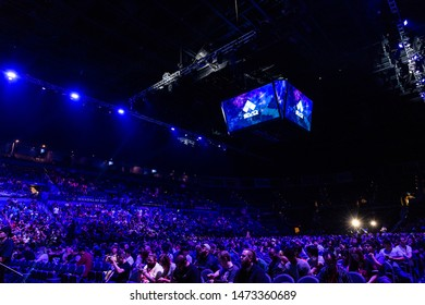 LAS VEGAS - AUGUST 4, 2019: Audience awaiting the next fighting game match at eSports tournament EVO 2019 Evolution Championship Series in the Mandalay Bay Events Center.