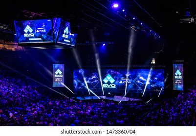LAS VEGAS - AUGUST 4, 2019: Wide-angle view of arena at the premier fighting game eSports tournament EVO 2019 Evolution Championship Series presented by Playstation PS4 at Mandalay Bay Events Center.