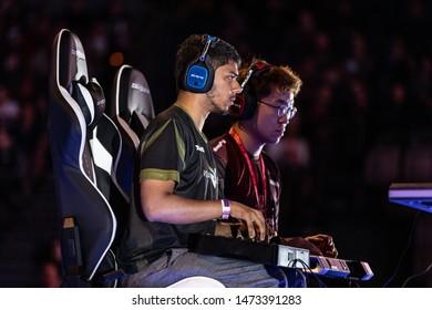 LAS VEGAS - AUGUST 4, 2019: Arslan Ash Siddiqueversus Jae-Min Knee Bae in Tekken 7 match at eSports fighting game tournament EVO 2019 Evolution Championship Series and Mandalay Bay Events Center.