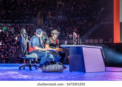 LAS VEGAS - AUGUST 4, 2019: Street Fighter V (SFV) match with Big Bird versus Bonchan from Team Red Bull at eSports tournament EVO 2019 Evolution Championship Series at Mandalay Bay Events Center.