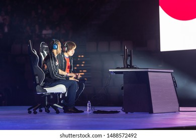 LAS VEGAS - AUGUST 4, 2019: Street Fighter V (SFV) match with Infexious versus Machabo at eSports tournament EVO 2019 Evolution Championship Series at Mandalay Bay Events Center.
