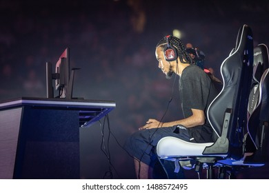 LAS VEGAS - AUGUST 4, 2019: eSports competitor iDom at fighting game tournament playing Street Fighter V (SFV) at EVO 2019 Evolution Championship Series at Mandalay Bay Events Center.