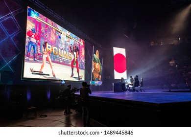 LAS VEGAS - AUGUST 4, 2019: Wide-angle view of Street Fighter V (SFV) match with iDom versus Bonchan at eSports tournament EVO 2019 Evolution Championship Series at Mandalay Bay Events Center.