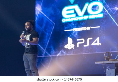 LAS VEGAS - AUGUST 4, 2019: WWE professional wrestler Xavier Woods presenting at eSports fighting game tournament EVO 2019 Evolution Championship Series at Mandalay Bay Events Center.