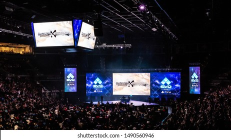 LAS VEGAS - AUGUST 4, 2019: Wide-angle view of Samurai Shodown X Soulcalibur VI announcement at eSports fighting game tournament EVO 2019 Evolution Championship Series presented by Playstation PS4.