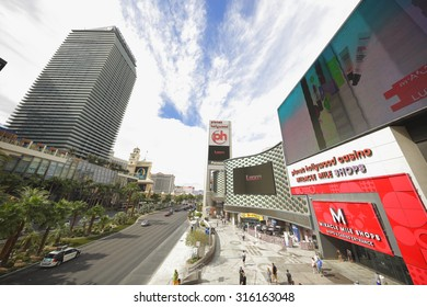 LAS VEGAS - AUGUST 7: View from the Las Vegas Escalators which assist people in crossing over the main strip to avoid ground level crosswalk August 7, 2015 in Las Vegas NV.