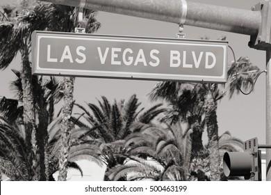 Las Vegas Blvd. Black and white photo.