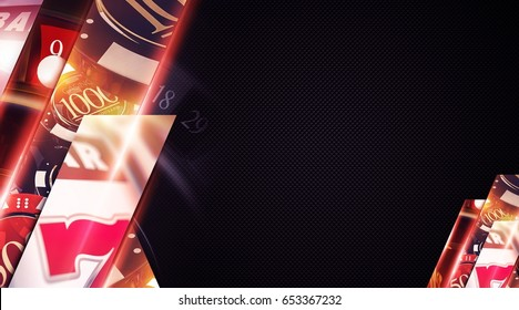 Las Vegas Casino Copy Space Backdrop Banner with 3D Rendered Elements. Casino Money Games Background Illustration.