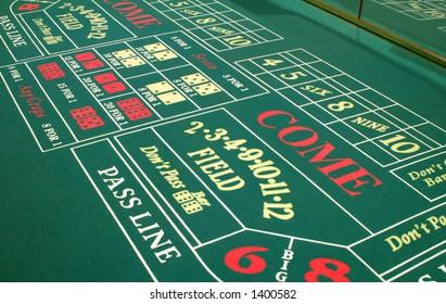 A Las Vegas casino craps table layout