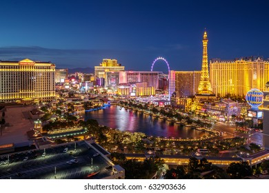 LAS VEGAS - CIRCA APRIL 2017: Strip view at night