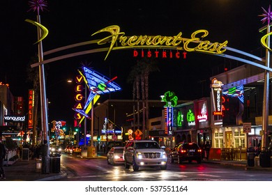 Las Vegas - Circa December 2016: Fremont Street East District Sign with Neon Martini Glass I