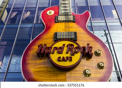 Las Vegas - Circa December 2016: The Hard Rock Cafe on the Strip. The Hard Rock sign is embedded in a Gibson Les Paul Guitar II