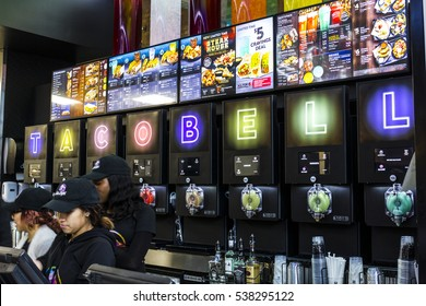 Las Vegas - Circa December 2016: Taco Bell Cantina Location. The new Taco Bell Cantina features a DJ area, VIP lounge, and upscale menu IV