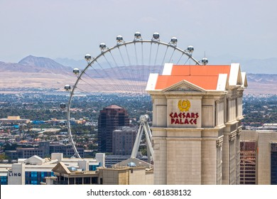 Las Vegas - Circa July 2017: Caesars Entertainment Corporation properties - Caesars Palace, The Linq and the High Roller. CZR owns over 50 casinos and hotels I