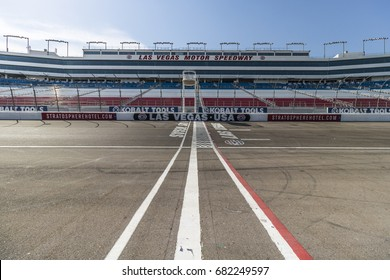 Las Vegas - Circa July 2017: Start Finish line at Las Vegas Motor Speedway. LVMS hosts NASCAR and NHRA events including the Pennzoil 400 VI